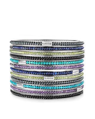 Sterling Silver Caviar Icon Lapis Beaded Bangle Bracelet
