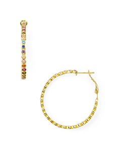 AQUA - Multicolor Stone Hoop Earrings in 18K Gold-Plated Sterling Silver or Sterling Silver - 100% Exclusive