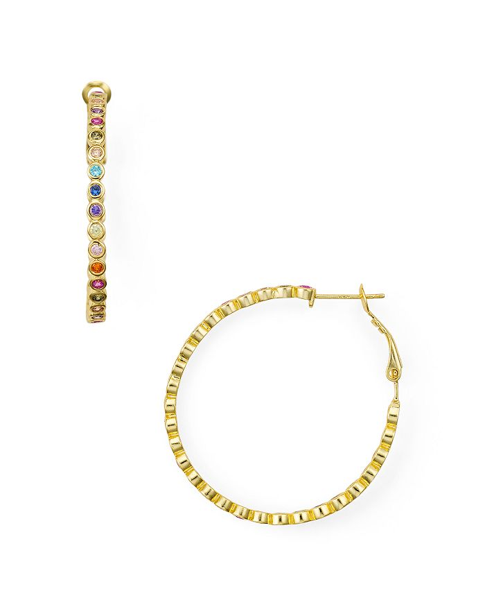 AQUA MULTICOLOR STONE HOOP EARRINGS IN 18K GOLD-PLATED STERLING SILVER OR STERLING SILVER - 100% EXCLUSIV