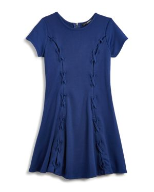 Miss Behave Girls' Ella Lace-Up Swing Dress - Big Kid