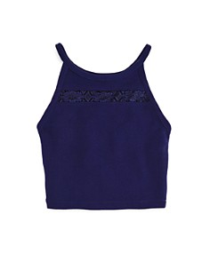 AQUA - Girls' Textured Tank with Lace Cutout, Big Kid - 100% Exclusive
