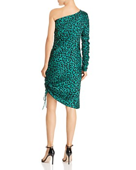 MILLY - Cara One-Shoulder Silk Leopard Dress