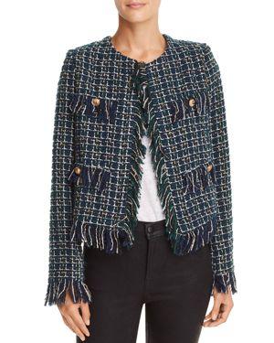 JOA Fringed Tweed Jacket in Green