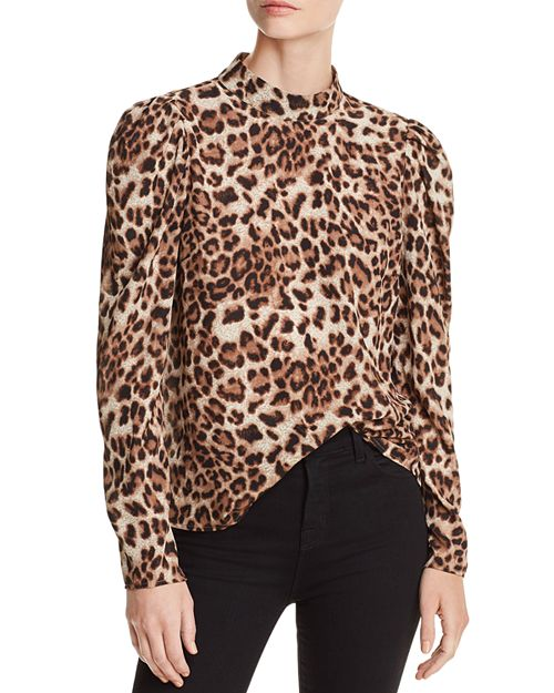 AQUA - Victorian Leopard Print Top - 100% Exclusive