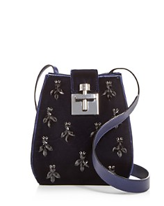 Oscar de la Renta - Houston Embellished Velvet Bucket Bag