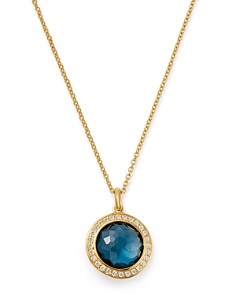 IPPOLITA - 18K Yellow Gold Lollipop London Blue Topaz & Pavé Diamond Adjustable Mini Pendant Necklace, 18""