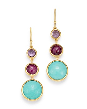 IPPOLITA - 18K Yellow Gold Lollipop Amethyst, Turquoise & Clear Quartz over African Ruby Doublet Three-Stone Drop Earrings