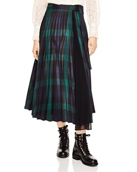 Sandro - Sunshine Pleated Plaid Midi Wrap Skirt