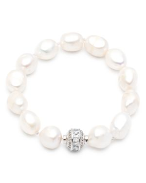 CAROLEE LARGE CULTURED FRESHWATER PEARL SINGLE ROW MAGNETIC BRACELET