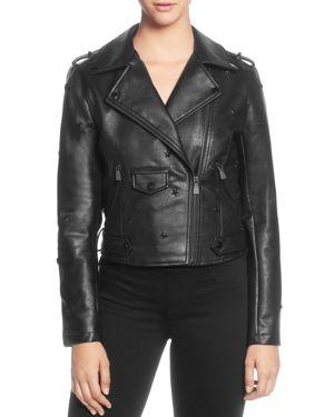 Star Stud Faux Leather Moto Jacket, Black