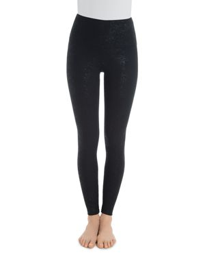 LYSSÉ Shine Print High-Rise Leggings in Black Shine