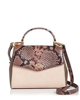 Tory Burch - Robinson Medium Snakeskin-Embossed Leather Shoulder Bag