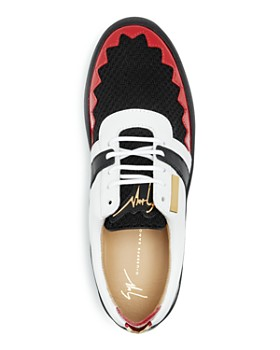 Giuseppe Zanotti - Men's Mixed Media Color-Block Lace Up Sneakers