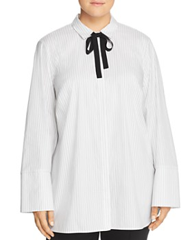 Lafayette 148 New York Plus - Annaliese Pinstriped Tie-Neck Blouse