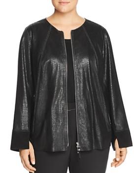 Lafayette 148 New York Plus - Anasophia Metallic Suede Jacket