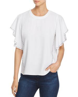 Donna Karan New York Studded Flutter-Sleeve Top