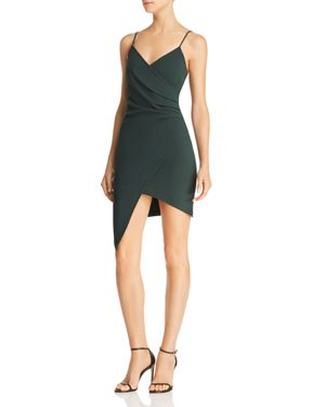 SUNSET & SPRING Sunset + Spring Ruched Faux-Wrap Dress - 100% Exclusive in Hunter Green