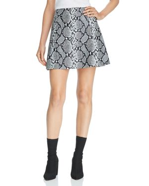 Veda Snake-Print Leather A-Line Mini Skirt