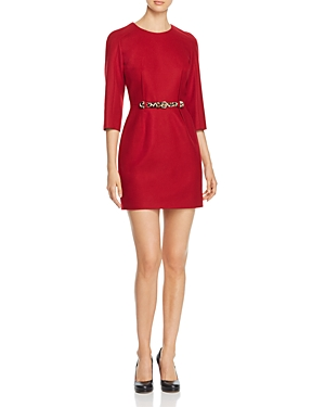 Paule Ka Belted Virgin Wool Mini Dress