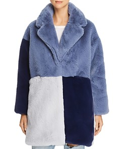 Heurueh - Mean Business Color-Block Faux-Fur Jacket