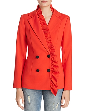 C/meo Collective C/MEO COLLECTIVE YOU OR ME RUFFLED DOUBLE-BREASTED BLAZER