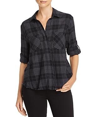 Bella Dahl Frayed Split-Back Plaid Shirt