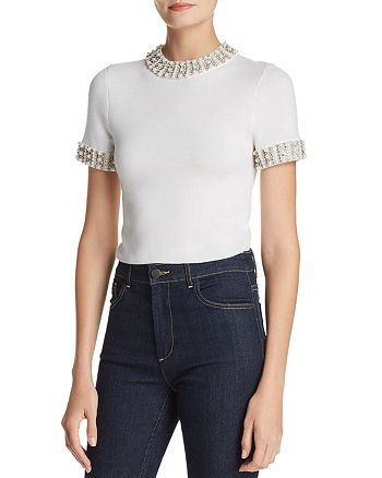 Alice and Olivia - Ciara Embellished Cropped Sweater