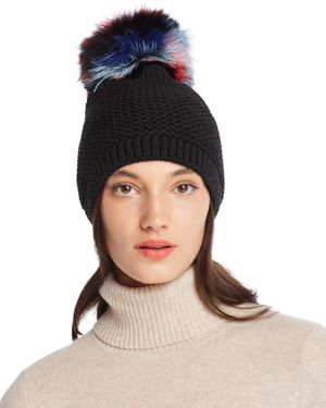 Slouchy Hat With Fox Fur Pom-Pom - 100% Exclusive in Black Multi