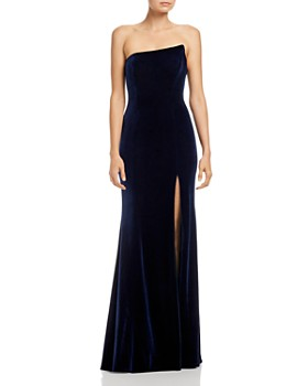 Aqua Asymmetric Strapless Velvet Gown 100 Exclusive