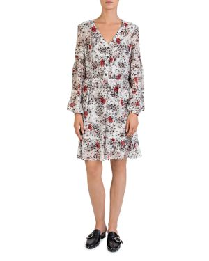 The Kooples Silk Flying Flowers Printed Dress