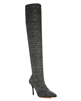 c01aacca1b862 Tabitha Simmons - Women's Laudine Glitter Knit Over-the-Knee Boots ...