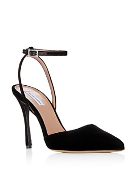 Tabitha Simmons - Women's Elvin Pointed Toe Suede Ankle Strap Pumps