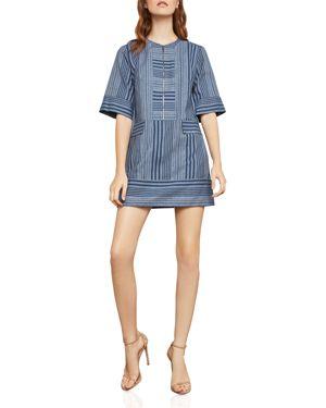 BCBGMAXAZRIA STRIPED ZIP-FRONT SHIFT DRESS