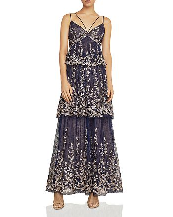 BCBGMAXAZRIA - Embroidered Tiered Lace Gown