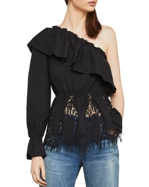 BCBG MAX AZRIA Ruffle Lace-Embroidered One-Shoulder Top in Black