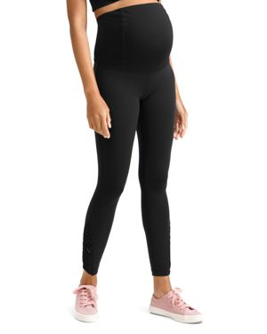 Maternity Active Ankle-Length Leggings With Macrame Detail in Jet Black