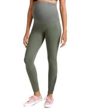 Maternity Active Ankle-Length Leggings With Macrame Detail in Olive