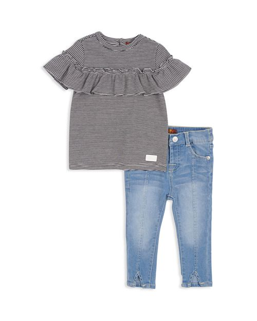 7 For All Mankind - Girls' Ribbed Ruffled Tee & Faded Skinny Jeans Set - Baby
