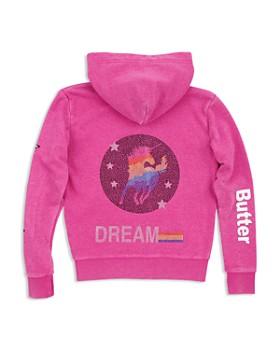 Butter - Girls' Embellished Unicorn Fleece Hoodie - Little Kid, Big Kid