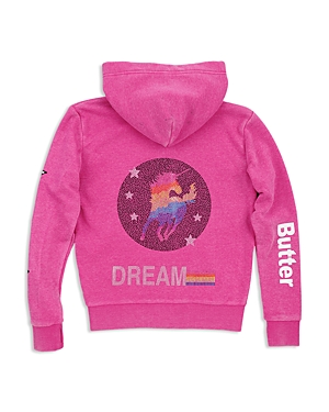 Butter Girls' Embellished Unicorn Fleece Hoodie - Little Kid, Big Kid