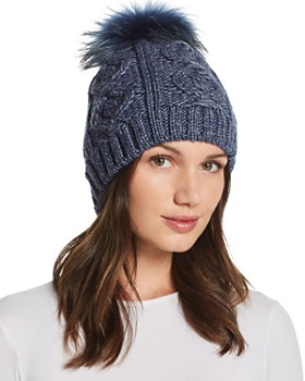 Echo - Fur Pom-Pom Cable-Knit Beanie - 100% Exclusive