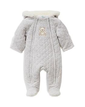 Little Me - Unisex Heathered Faux-Fur Hooded Teddy Bear Footie Jacket - Baby