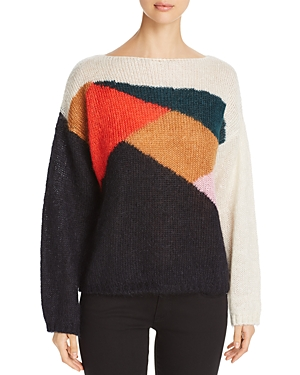Burberry Color Block Drop Shoulder Sweater