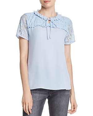 Karl Lagerfeld Lace-Inset Keyhole Top