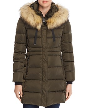 T Tahari - Stefani Faux Fur Trim Fitted Puffer Coat