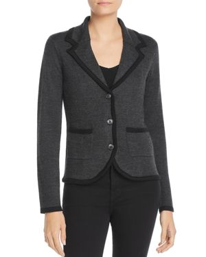 AVEC Two-Tone Knit Blazer in Charcoal/Black