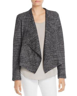 BAGATELLE Draped Tweed Open-Front Jacket in Gray