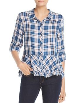 Billy T - Frayed Plaid Peplum Shirt