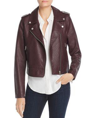 BAGATELLE Pebbled Faux-Leather Biker Jacket in Wine