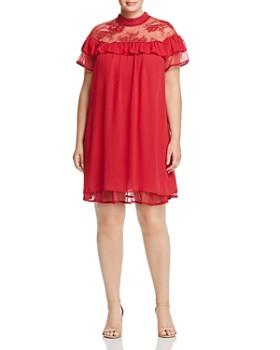 Lost Ink Plus - Dot-Print Ruffle Dress